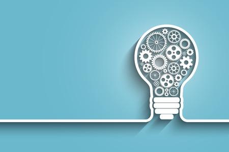 Ampoule avec engrenages et pignons de travailler ensemble. vecteur de fond pour votre conception Banque d'images - 36489536