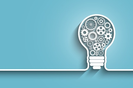 business strategy: light bulb with gears and cogs working together.  vector background for your design