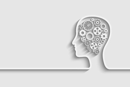 頭部の脳のシンボルの仕事として歯車の設定  イラスト・ベクター素材
