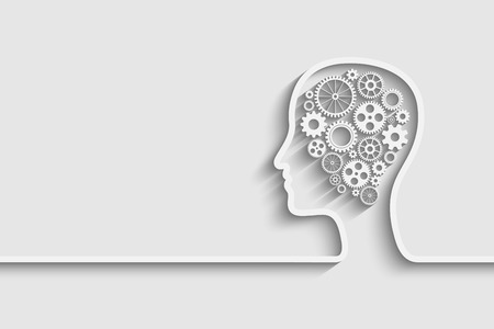 mente humana: Cabeza humana con el conjunto de engranajes como una obra s�mbolo del cerebro