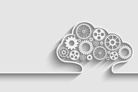 infraestructura: Nubes de fondo creativo con engranajes. Eps10 vector para su diseño Vectores