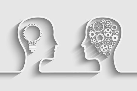 cabeza: Cabeza humana con el conjunto de engranajes como una obra s�mbolo de cerebro, Eps10 vector de fondo para su dise�o