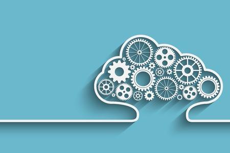 infraestructura: Nubes de fondo creativo con engranajes. vectorial para su diseño