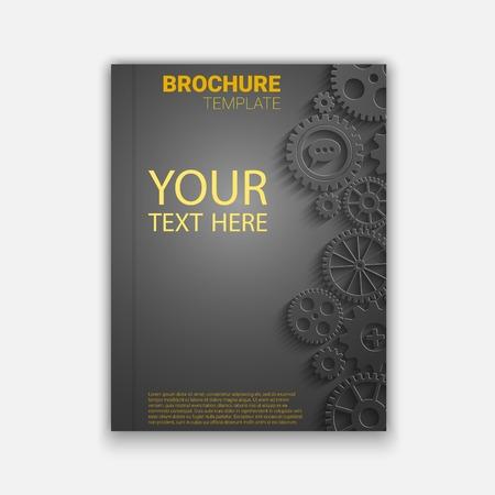 rackwheel: Vector brochure template design with cogwheels. Creative idea  vector for your design Illustration