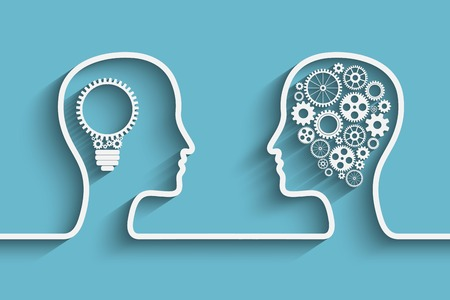 Human head  with set of gears as a symbol work of brain,  vector background for your design 일러스트