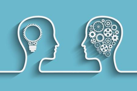 뇌의 심볼 작품으로 기어 세트와 인간의 머리, 디자인을위한 벡터 배경