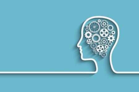 mente humana: Cabeza humana con el conjunto de engranajes como una obra símbolo de cerebro, de vectores de fondo para su diseño Vectores