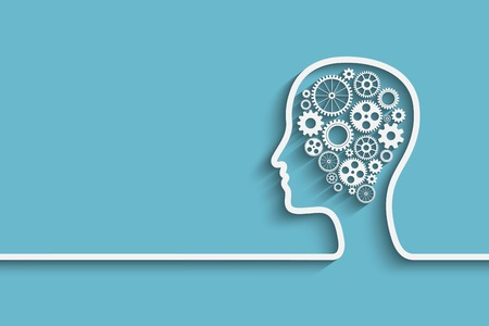 humans: Human head  with set of gears as a symbol work of brain,  vector background for your design Illustration