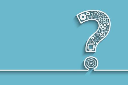 Creative Vraagteken met versnellingen. vector voor uw ontwerp