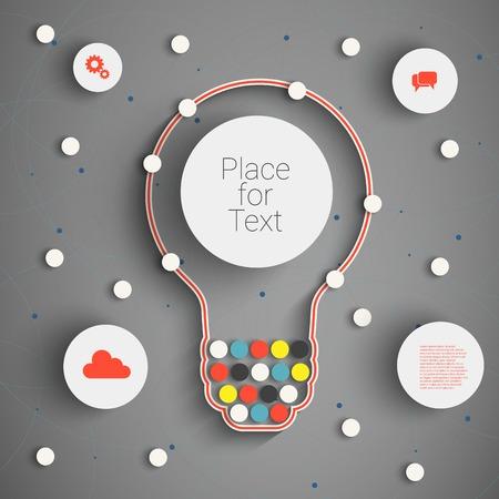 tecnología informatica: Moderno concepto de negocio, Info elementos gráficos. Idea Bombilla con muchas soluciones.