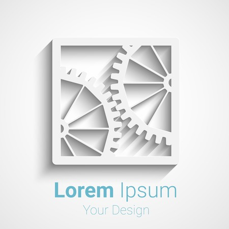 cogs and gears: Creative vector gears logo icon. Logotype for your design