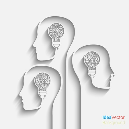 Human head creating a new idea.  vector for your design Çizim