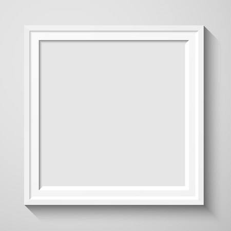 art gallery interior: White rectangular photo frame with shadow on a wall.   Vector illustration for your design