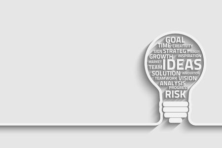 ビジネス コンセプトの電球が言葉で作られました。あなたのデザインのベクトル Eps10