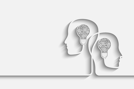 learning: Human heads creating a new idea background. Eps10 vector for your design
