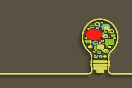 バブル音声と電球、アイデアのコンセプトは、あなたのデザインのベクトル図  イラスト・ベクター素材