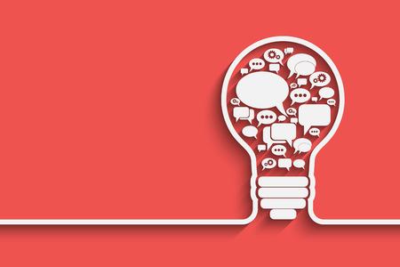 medios de comunicaci�n social: bombilla con forma de burbuja, una idea de concepto, ilustraci�n vectorial para su dise�o Vectores