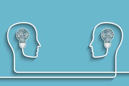Menselijke hoofden creëren van een nieuw idee achtergrond. Eps10 vector voor uw ontwerp Stock Illustratie