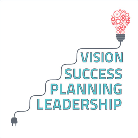 Business steps to success, light bulb with gears and cogs working together.