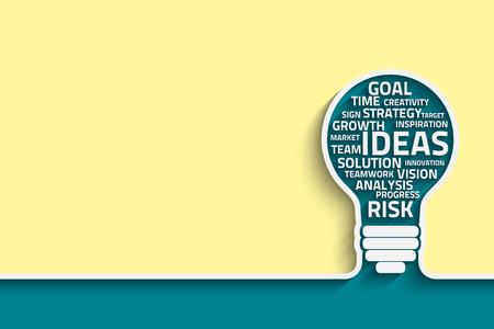 Business concept gloeilamp gemaakt met woorden. Vector Eps10 voor uw ontwerp