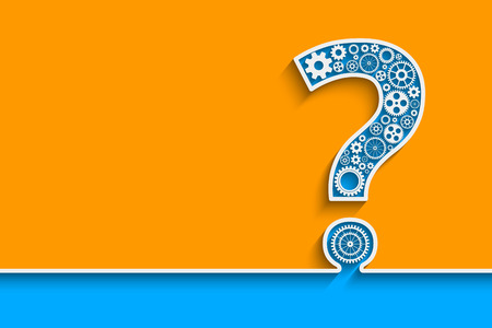 steel background: Creative Question mark with gears. Eps10 vector for your design