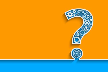 signo de interrogacion: Signo de interrogación creativa con engranajes. Eps10 vector para su diseño Vectores