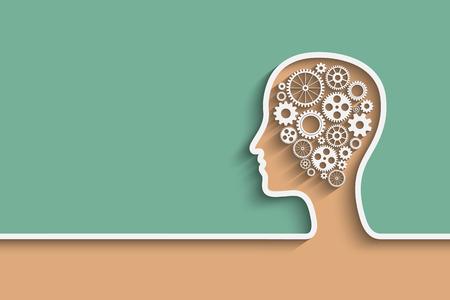 mente humana: Cabeza humana con el conjunto de engranajes como una obra s�mbolo de cerebro, Eps10 vector de fondo para su dise�o