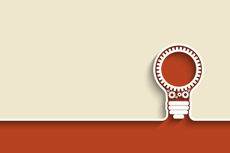 light bulb with gears and cogs working together. Eps10 vector background for your design Stock Illustratie