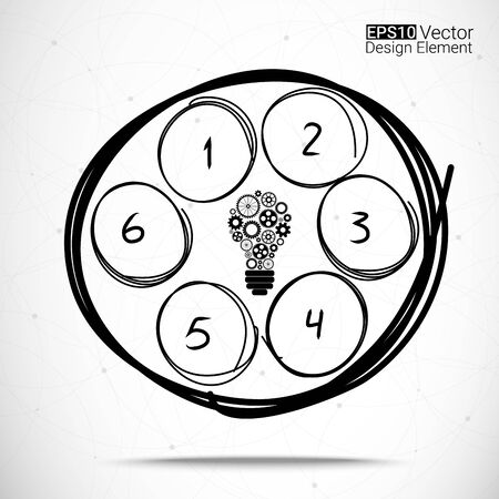 Hand drawn circles set for your design, Six steps  Vector
