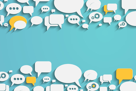 dialogo: Bacrground creativo con burbujas de discurso coloridos y globos de diálogo. Eps10 vector para su diseño