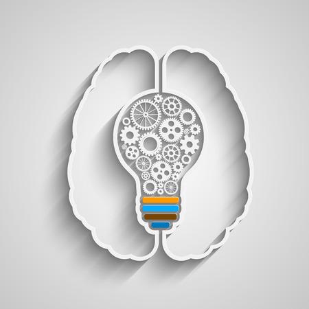 creative brain: Human brain creating a new idea. Creative bulb with gears. Eps vector for your design.