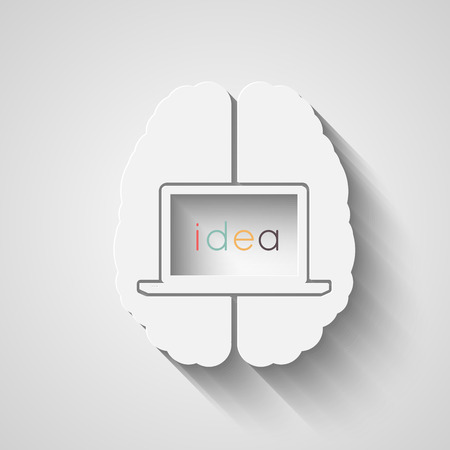 computer screen: Human brain with laptop inside. Creative idea for your design. Eps10 vector