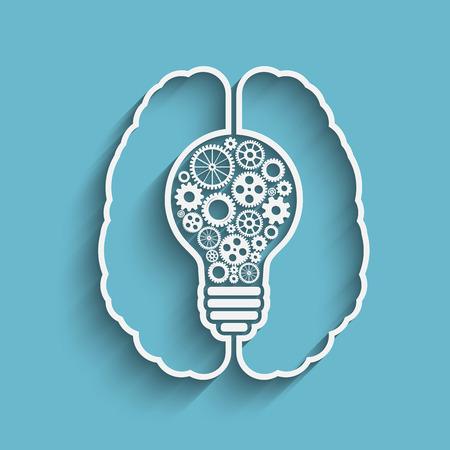 new idea: Human brain creating a new idea. Creative bulb with gears.