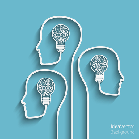telepathy: Human heads creating a new idea background. Eps10 vector for your design