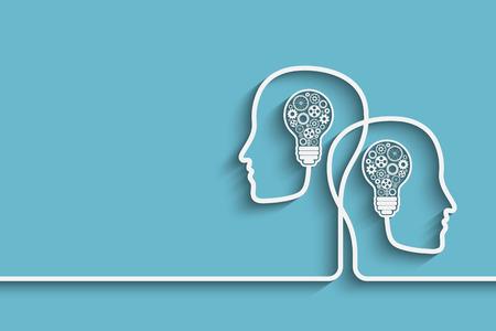 технология: Человеческие головы, создающие новый фон идея. EPS10 Векторный для дизайна Иллюстрация