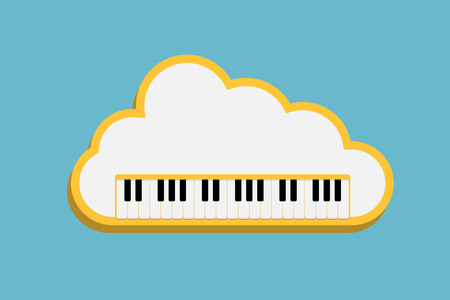 piano key: cloud music, Piano Keyboard with cloud as a concept online music storage, eps10 retro style vector illustration
