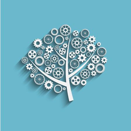 비즈니스 성장 개념, 기어 크리 에이 티브 나무, 벡터
