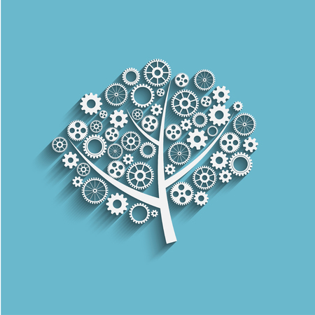 machine parts: Business growth concept, creative tree with gears, vector