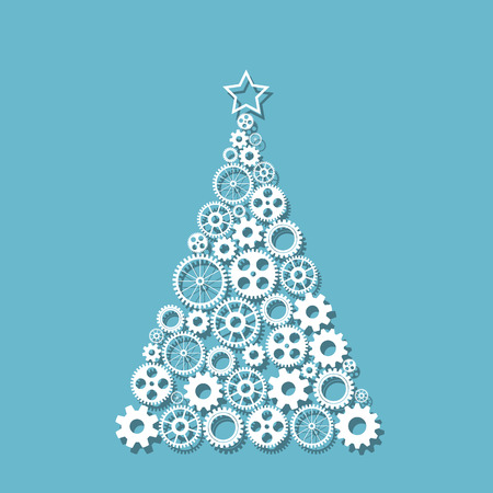 fur tree ornament: Christmas tree made from gears set,  vector