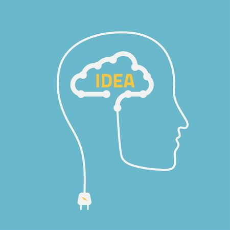 ingenuity: silhouette of a man with cloud idea, vector illustration