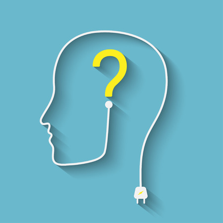 Male silhouette with question mark on the head - vector icon Stock Illustratie