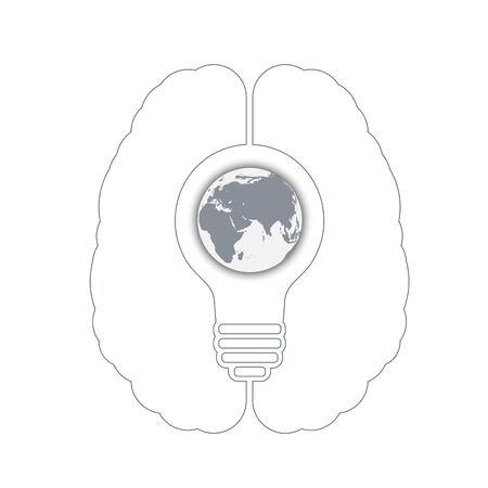 conceptual bulb: light bulb with a world globe in a human brain. Conceptual illustration for your design