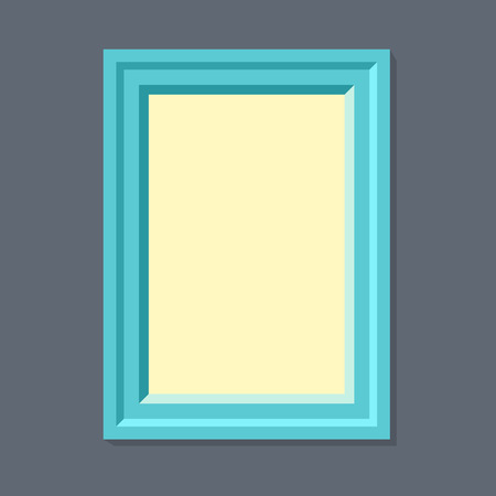 empty frame: Flat rectangular retro photo frame with shadow on a wall.  Eps10 Vector illustration for your design