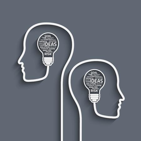 ビジネス コンセプトの電球が人間の脳で言葉を使った。あなたのデザインのベクトル Eps10