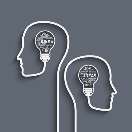 Business concept bulb made with words in a human brain. Vector Eps10 for your design