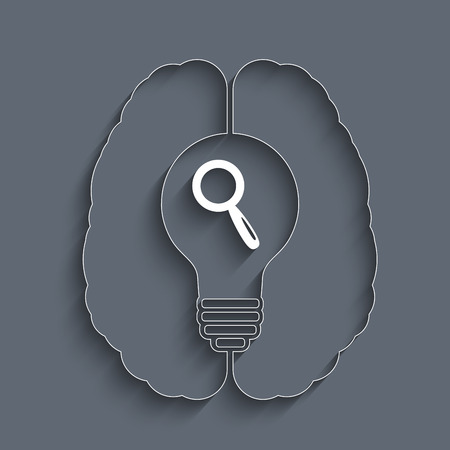 eps10 vector background: creative concept with human brain, idea bulb and magnifier. Eps10 vector background for your design Illustration