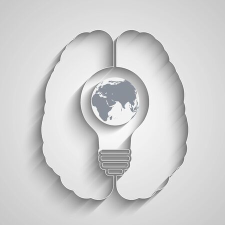 world thinking: light bulb with a world globe in a human brain. Conceptual illustration for your design