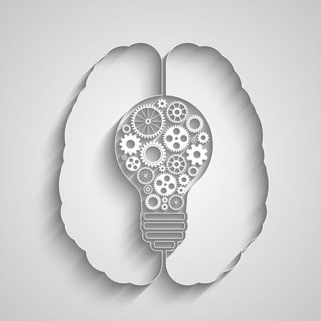Human brain creating a new idea. Creative bulb with gears. Eps vector for your design.