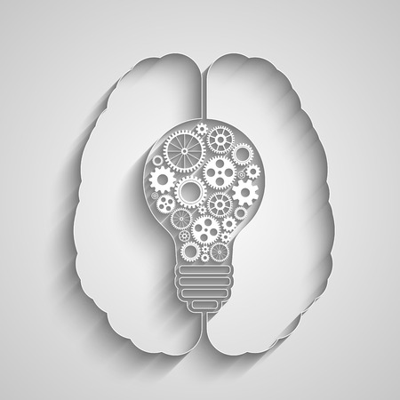 Human brain creating a new idea. Creative bulb with gears. Eps vector for your design.
