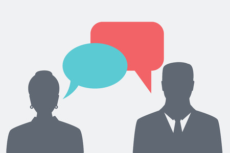 people silhouettes with colorful dialog speech bubbles